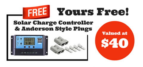 Exclusive Free Gift - Solar Charge Controller & Anderson Style Plugs - Only with select Solar Panels - $40 Value!