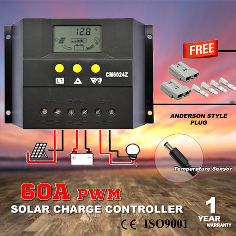12/24V 60A PWM Solar Charge Controller with Temperature Sensor - Mobile Solar Pro