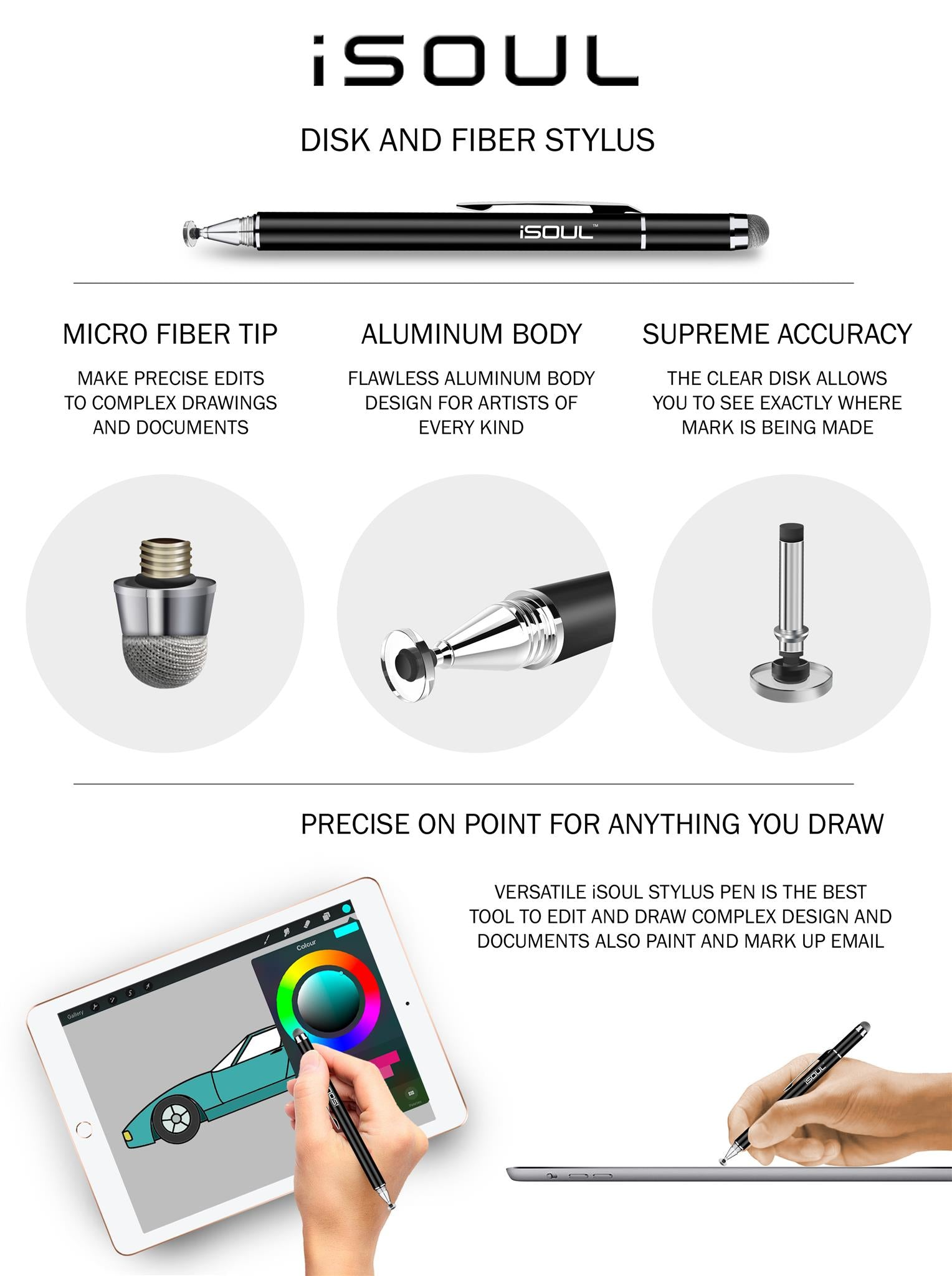 Fin Tip Stylus Pen, Universal Capacitive Precise Disc Styli 2-in-1 Touch Screen Pens with 2Pcs Replacement Tips for Smartphones, iPhone, iPad Mini, Pro, Galaxy, Note, Tab, Tablet, Nexus, Nokia, Blackberry