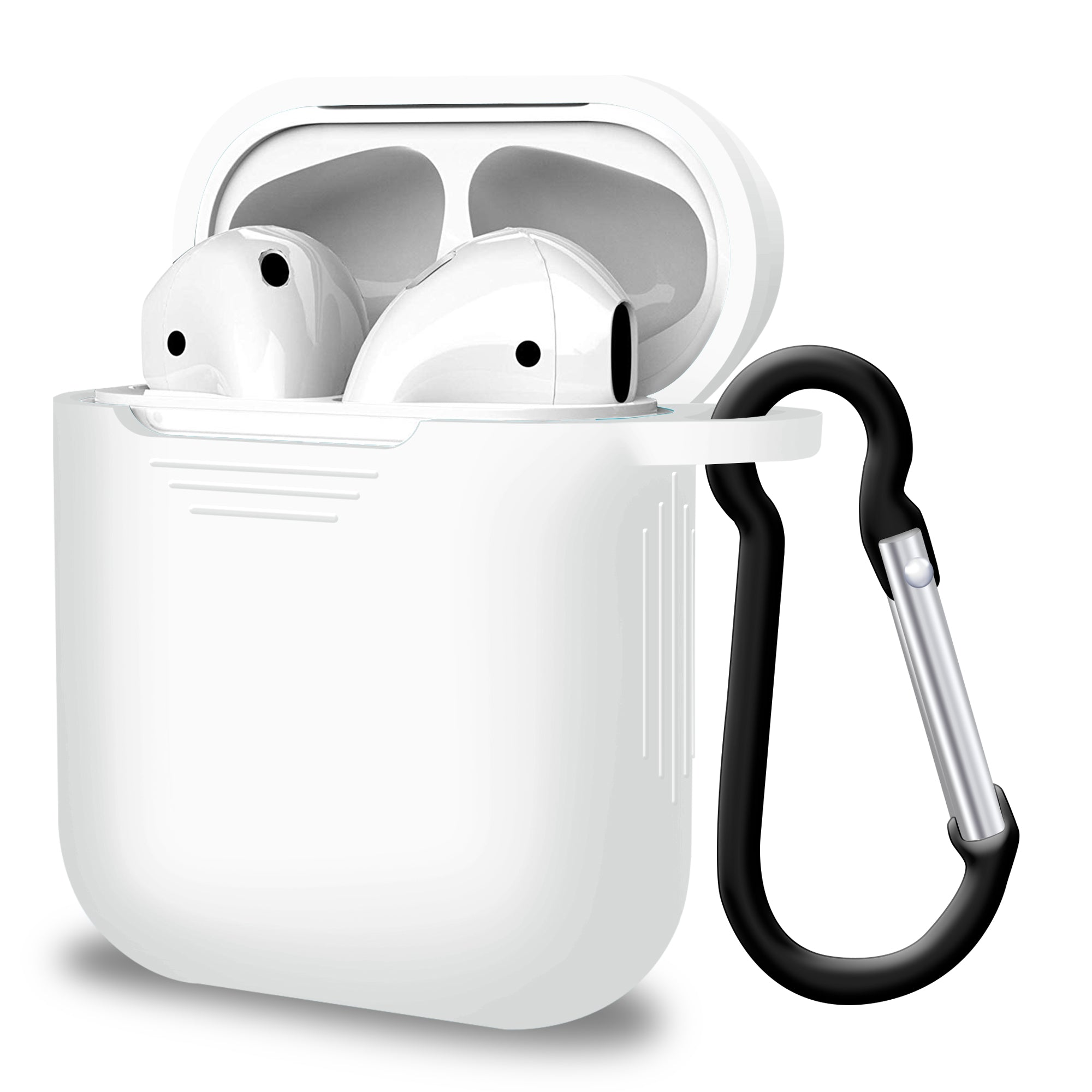 2 in 1 Apple Airpods Silicone Case Earphones Charging Skin Cover White, Audio by TradeNRG