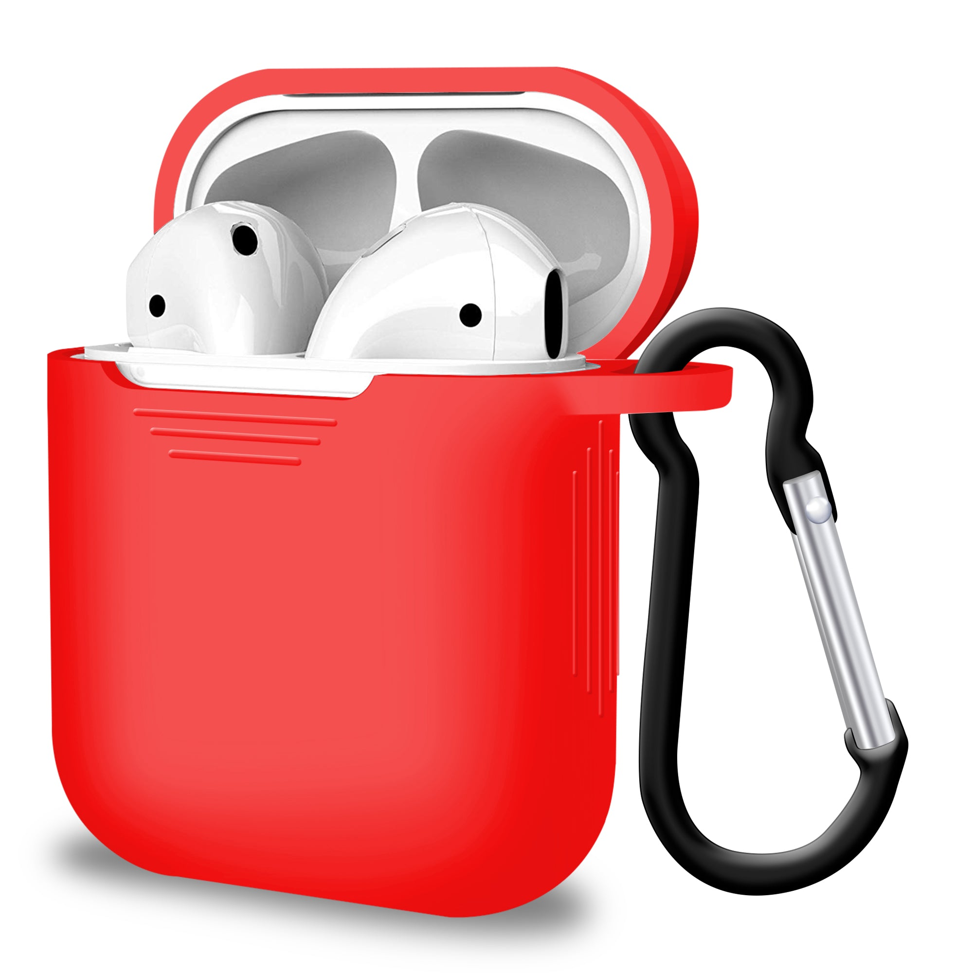 2 in 1 Apple Airpods Silicone Case Earphones Charging Skin Cover - Red, Audio Accessories by TradeNRG