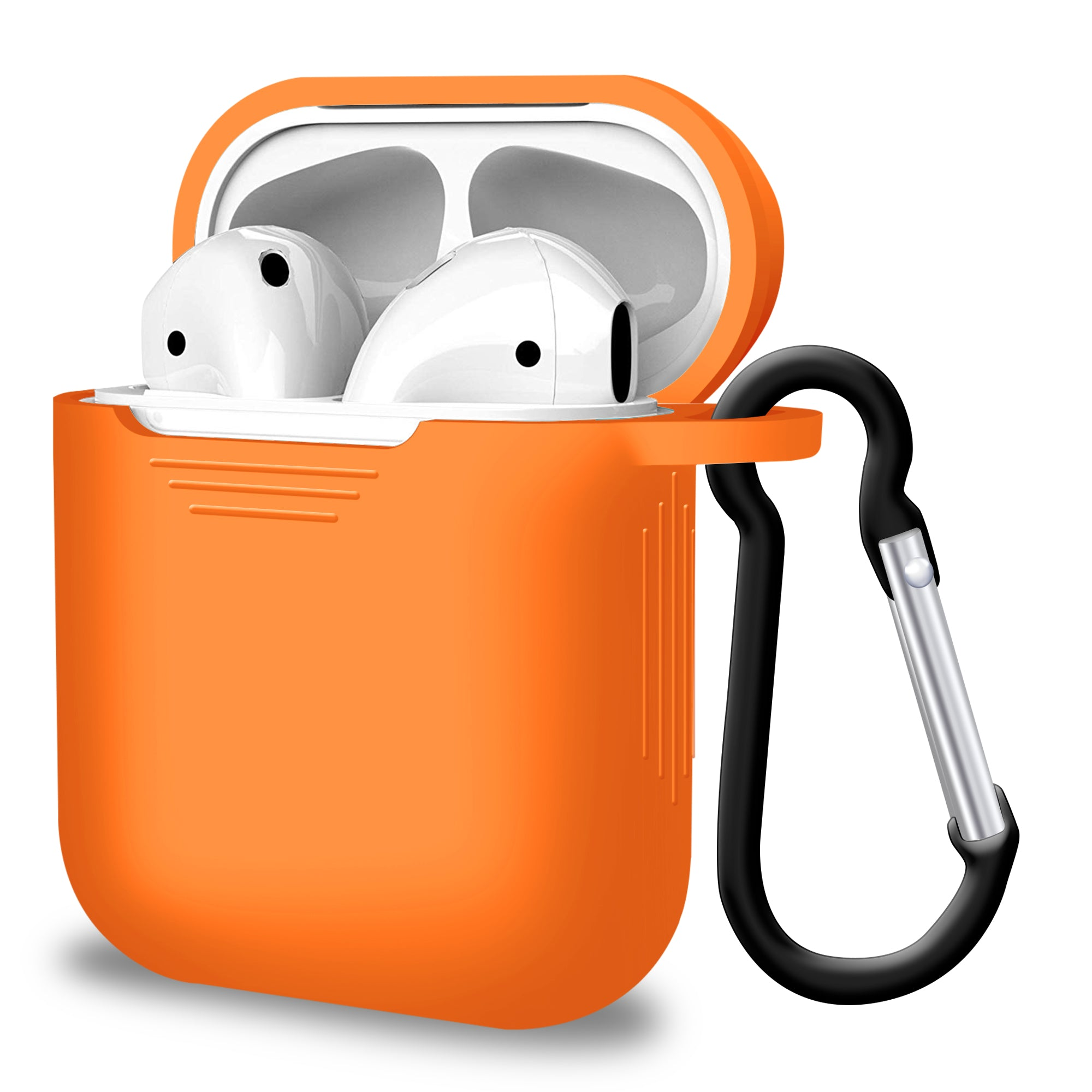 2 in 1 Apple Airpods Silicone Case Earphones Charge Skin Cover Orange, Audio by TradeNRG