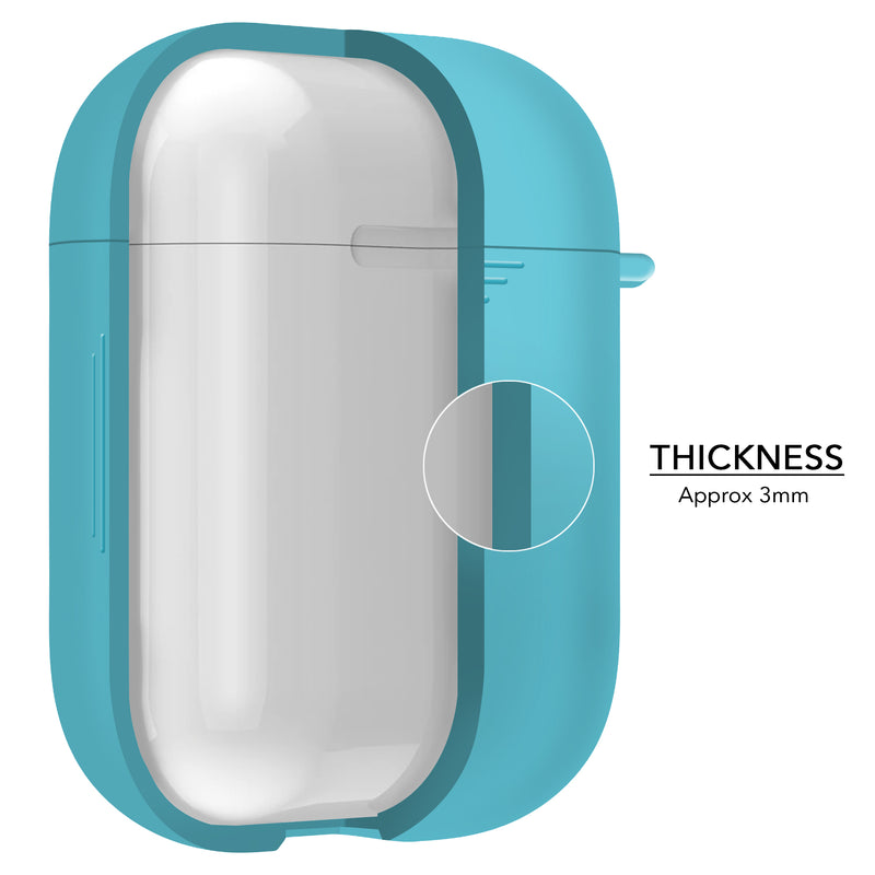 2 in 1 Apple Airpods Silicone Case Earphone Charge Skin Cover Sky Blue-Case / Cover-TradeNRG UK