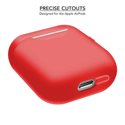2 in 1 Apple Airpods Silicone Case Earphones Charging Skin Cover - Red-Case / Cover-TradeNRG UK
