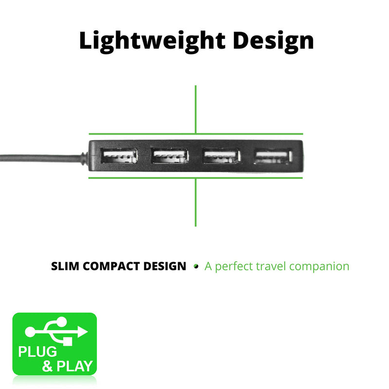 USB Hub by iSOUL 4-Port Ultra-Slim USB 2.0 Hub High Speed USB Hub Splitter Adapter with on/off switch - TradeNRG UK