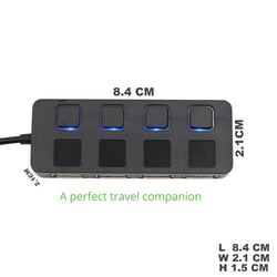 4 PORTS USB HUB FOR LAPTOP, NOTEBOOK, MAC BOOK