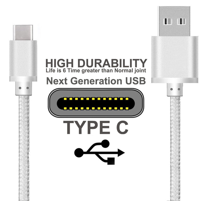 2x iSOUL Data Sync & Charge USB Type C to USB 2.0 Cable Nylon Braided-USB Type C Cable-TradeNRG UK
