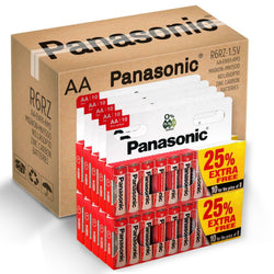 100 x AA Genuine PANASONIC Zinc Carbon Batteries - New R6 1.5V Expiry 2022-Battery-TradeNRG UK