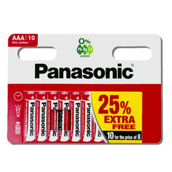 10x AAA Panasonic Batteries LR03 1.5V zinc Carbon MN2400 Pack of 10