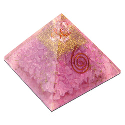 Rose Quartz, Healing Pyramid Orgone Crystal For Energy Aura Balancing Wellness Metaphysical EMF Protection Gemstone Chakra Balancing