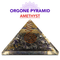 Amethyst, Healing Pyramid Orgone Crystal For Energy Aura Balancing Wellness Metaphysical EMF Protection Gemstone Chakra Balancing