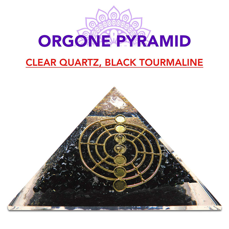 Black Tourmaline, Clear Quartz, Healing Pyramid Orgone Crystal For Energy Aura Balancing Wellness Metaphysical EMF Protection Gemstone Chakra Balancing
