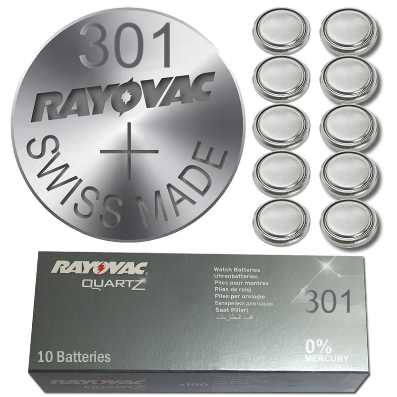 8x Rayovac 301 Watch Battery Swiss Made Silver Oxide Lithium Coin Cell-Battery-TradeNRG UK