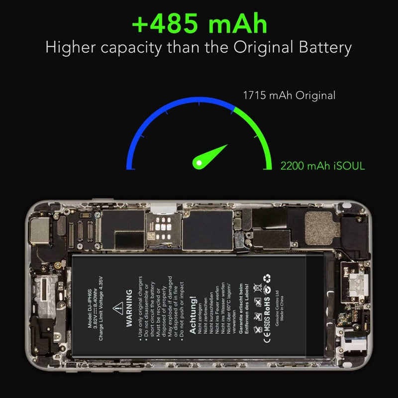 Compatible Battery For Apple iPhone 6S High Capacity 2200 mAh+Tool KIT Quality iPhone Replacement Battery