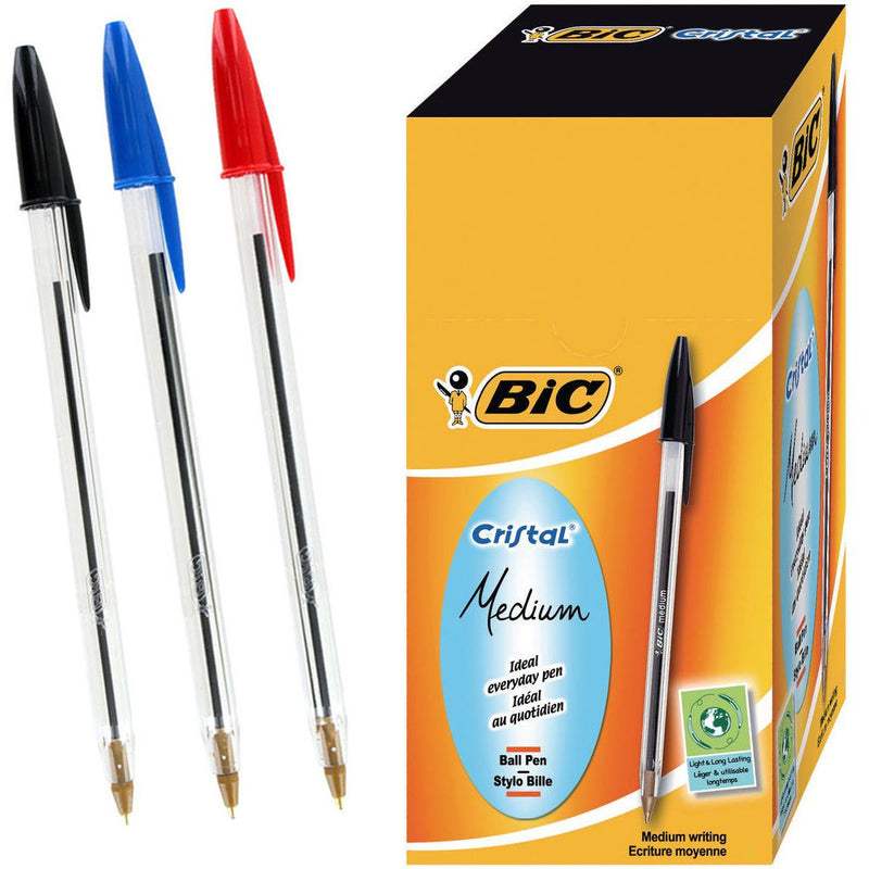 BIC CRISTAL Medium Ball Pens BIC Crystal Biros Black Blue Red Ballpoint Pen - OFFICE & STATIONERY - BIC	 - 1