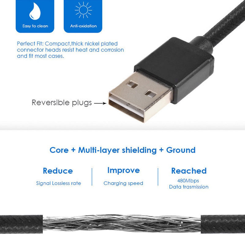 Reversible Usb 2.0 To Micro Data Sync Charge Cable Lead For Samsung Htc Lg Sony - TradeNRG UK