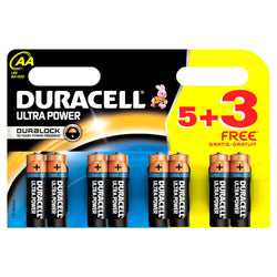 Duracell Ultra Power Alkaline Battery AA 8 Pack (5 Pack + 3 Free) Mx 1500B With Power-Check Feature - TradeNRG UK