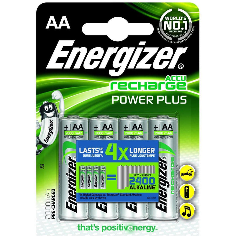 4 X Energizer Aa Rechargeable Battery Recharge Plus Batteries 2000 Mah Pre Charged Nimh Lr6 - TradeNRG UK