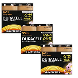 12 Pack Duracell Plus Power 9V 6LR61 MN1604 PP3 Alkaline Batteries Smoke Alarm - TradeNRG UK