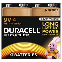 4x Duracell 9V Plus Power Battery Duracell MN1604 Alkaline Batteries