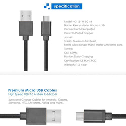 iSOUL Reversible USB 2.0 To Micro Data Sync Charge Cable Black-Micro USB Cable-TradeNRG UK