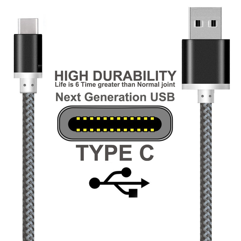 1M  Braided Usb-C Usb 3.1 Type-C Data Sync Charging Cable Black