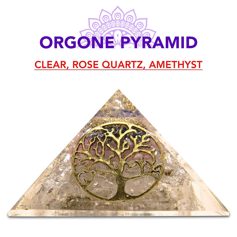 Clear, Rose Quartz, Amethyst, Healing Pyramid Orgone Crystal For Energy Aura Balancing Wellness Metaphysical EMF Protection Gemstone Chakra Balancing