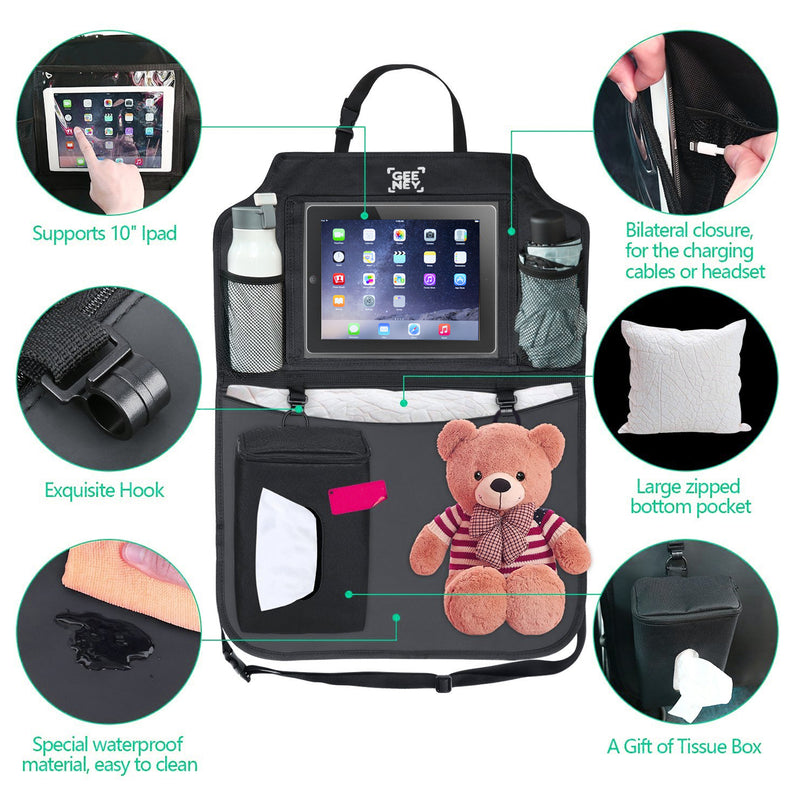 Back Seat Car Organizer, Storage Bag Tablet Holder Multi-Pocket Cargo Baby Diaper, Kick Mats Protectors Travel Hanger with Tissue Box For SUV Cars Trunk Baby Stroller Black - TradeNRG UK