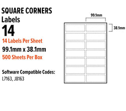 A4 Address Labels Sticky Self Adhesive 14 Per Sheet For Inkjet Laser 99.1Mm X 38.1Mm