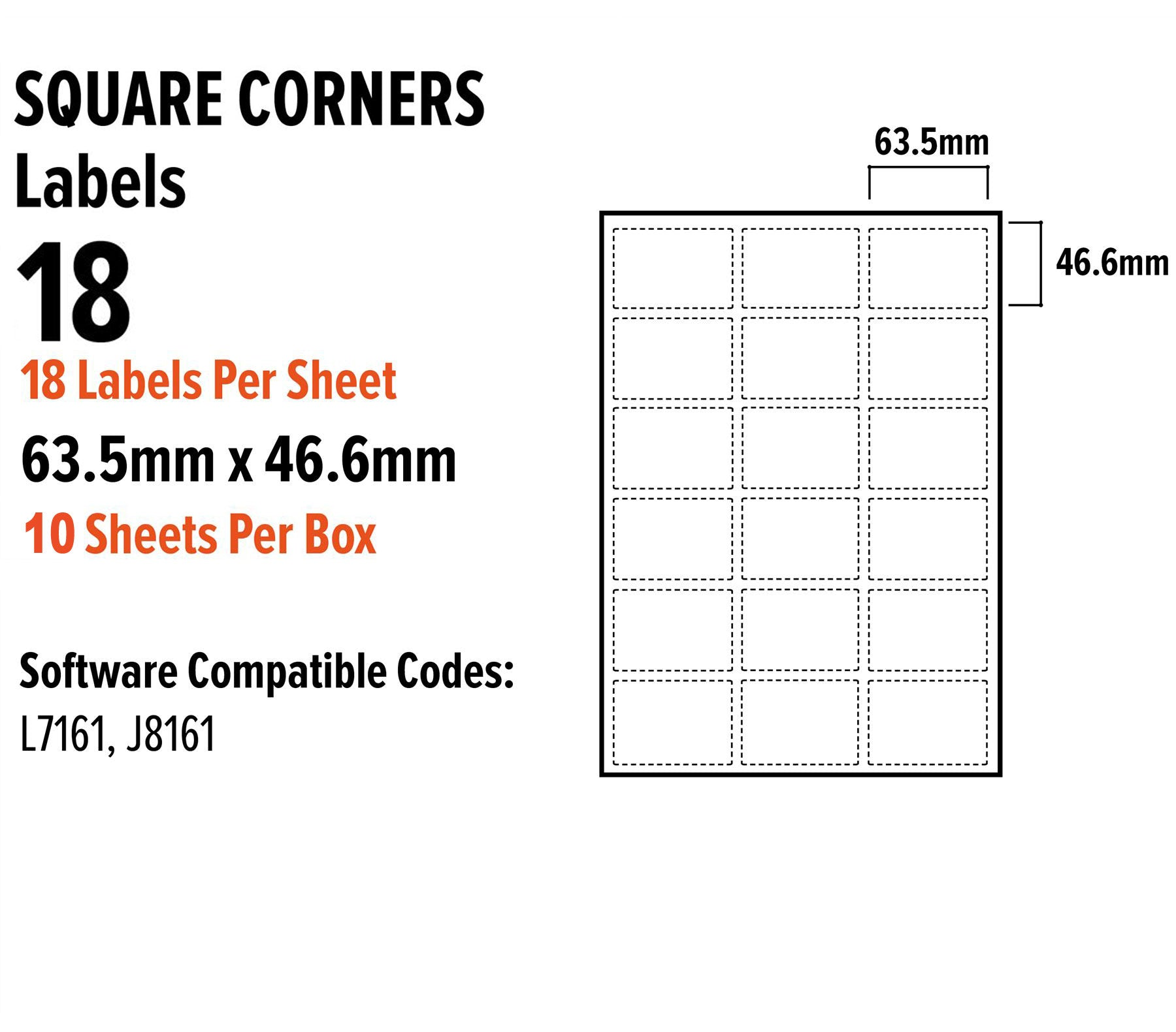 a4 address labels sticky self adhesive 18 per sheet for inkjet laser 635mm x 466