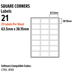 Premium quality A4 self-adhesive Labels - Printer label Sheet 21 Per Sheet Compatible with templates, suitable for Photo Copiers, Laser, and Inkjet printers. - TradeNRG UK
