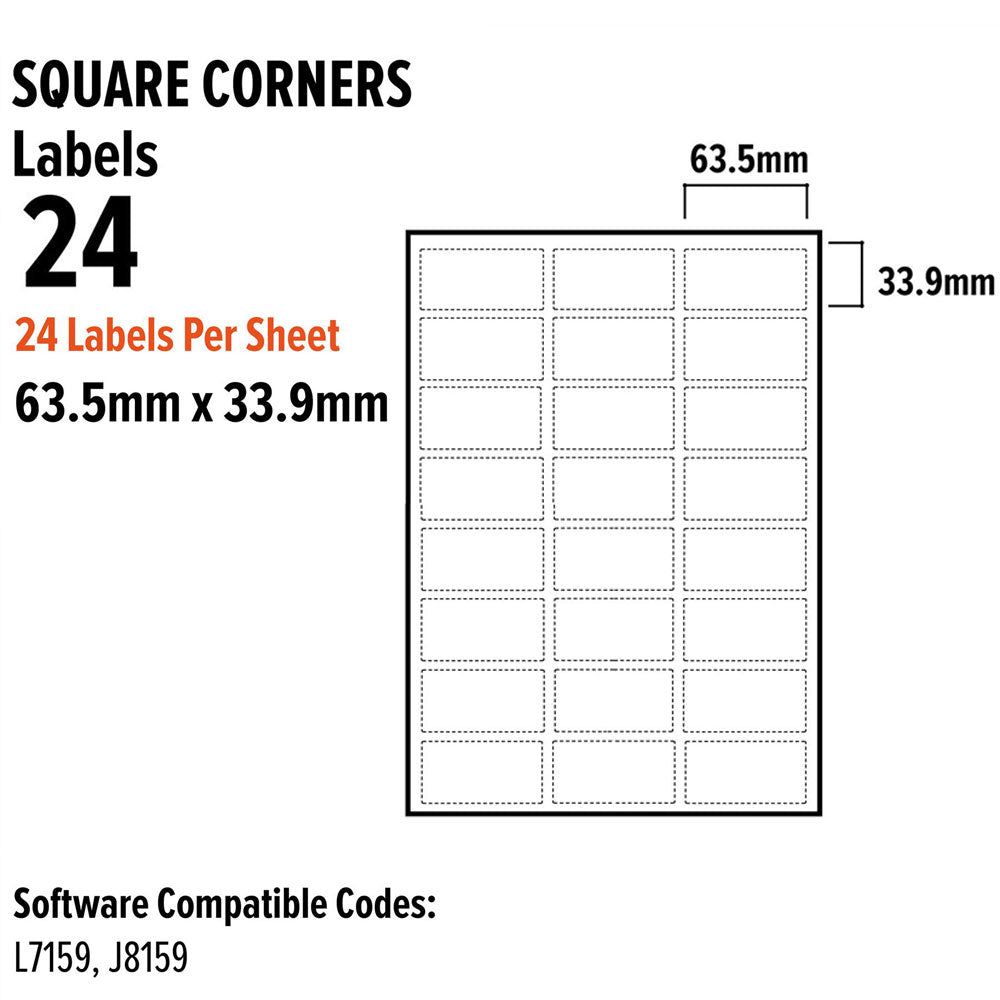 A4 Address Labels Sticky Self Adhesive 24 Per Sheet 63.5Mm X 33.9Mm, Office Supplies by TradeNRG