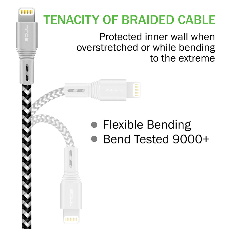 ISOUL Lightning iPhone Charger Data Cable【Apple MFi Certified】 Nylon Braided USB Cord for iPhone iPad iPod [Ultra Fast Sync & Charging] - TradeNRG UK