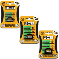 JCB AA AAA NiMH Pre Charged Rechargeable Batteries 1200 2400 900mAh