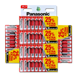 60 x AA Genuine PANASONIC Zinc Carbon Batteries - New R6 1.5V Expiry 2022