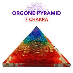 7 Seven Chakra, Healing Pyramid Orgone Crystal For Energy Aura Balancing Wellness Metaphysical EMF Protection Gemstone Chakra Balancing