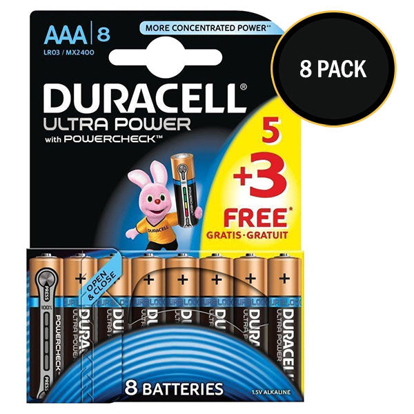 Duracell Ultra Power AAA Batteries Size 5+3 MX2400 Duralock Alkaline