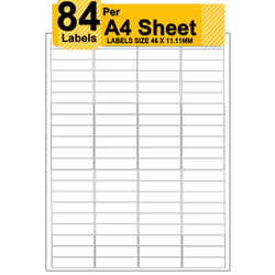 84 Labels | A4 Sticky Peel Self Adhesive Address Label For Laser Inkjet Copier White