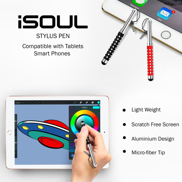 Stylus, Retractable Styli Stylus Pen For Smart Phone iPad iPhone by iSOUL | 10Pcs - TradeNRG UK