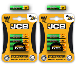 JCB Rechargeable Batteries AA AAA NiMH Pre Charged 1200 2400 900mAh Long Life JCB Battery UK 2019