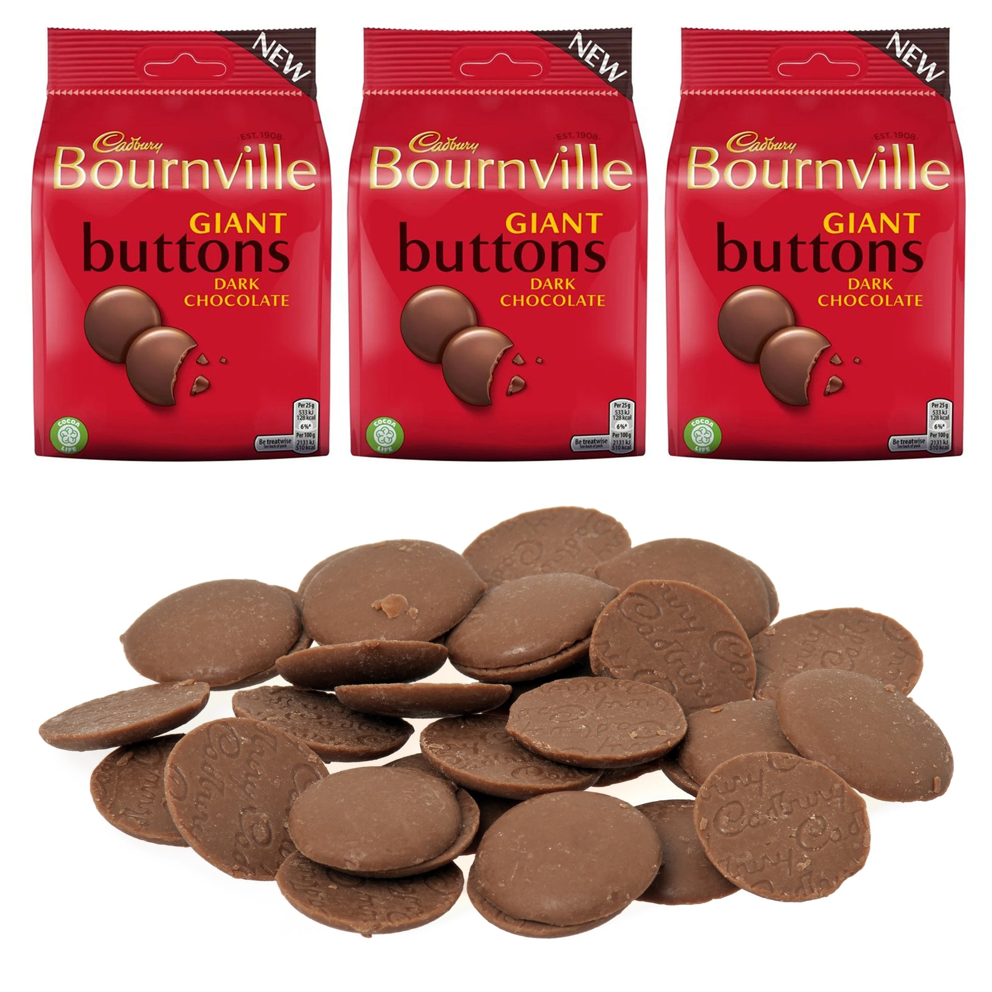 Cadbury Bournville Giant Buttons Dark Chocolate 95g, Food Items by TradeNRG