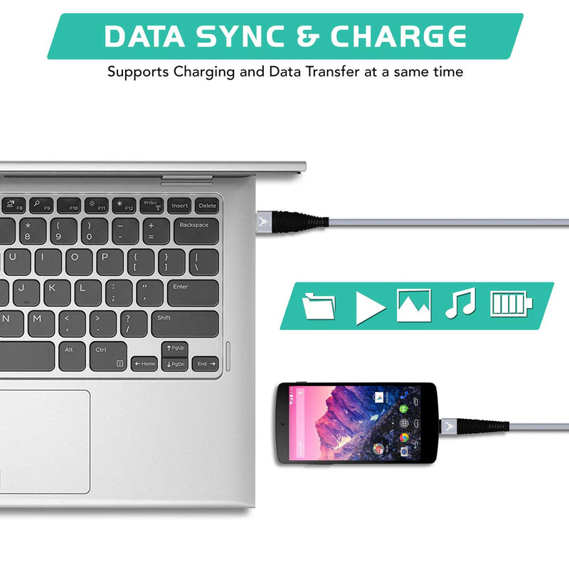 15CM 1M Long Micro USB Data Sync Charger Cable Lead For Smartphones-Micro USB Cable-TradeNRG UK