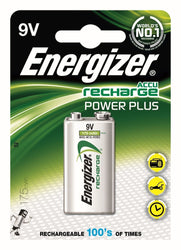 1 X Energizer 9V Pp3 Block Rechargeable Battery 175 Mah Hr22 Ni-Mh E Power Plus