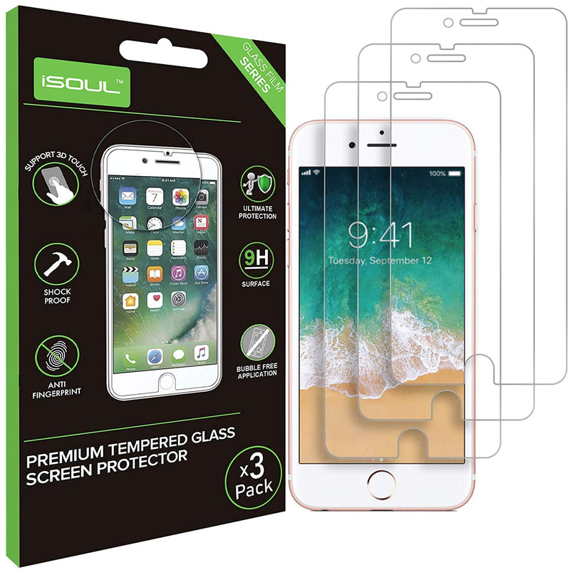 iSOUL Screen Protector For iPhone 6 6S 7 8  3 Pack