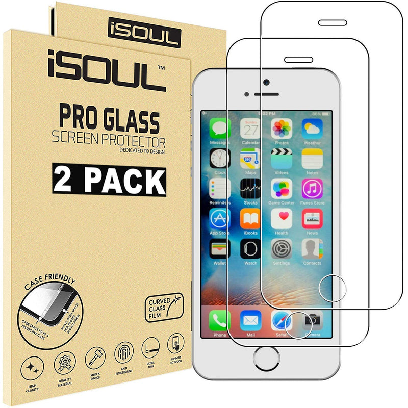 iSOUL Apple Screen Protector Film for iPhone 5 5S 5C SE Tempered Glass 9H Hardness 3D Touch Compatible with Lifetime Warranty