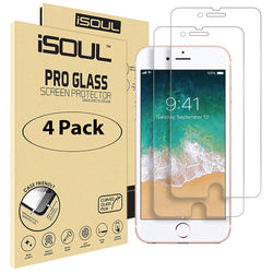 4x iSoul iPhone 7 8 Screen Protector Tempered Glass 4.7