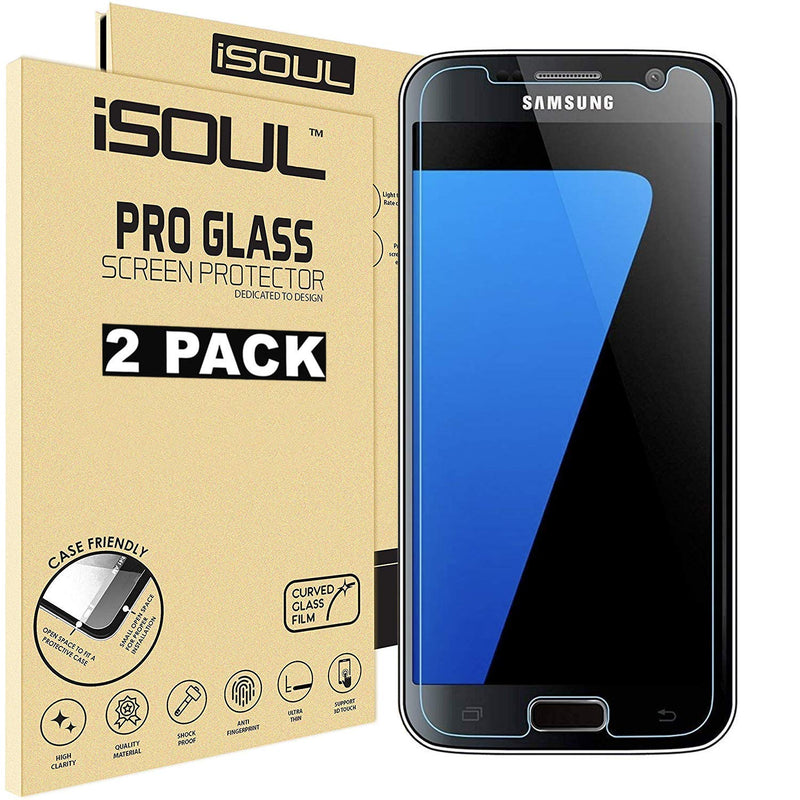 iSOUL Samsung Galaxy S7 Screen Protector Anti-Shatter Film Tempered Glass for Samsung Galaxy S7 9H Hardness Rating Clear Vision Case - TradeNRG UK