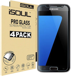 iSOUL Samsung Galaxy S7 Tempered Glass Film 9H HD, 0.3mm Clear 4 Pack Strong Case Friendly S7 Glass - TradeNRG UK