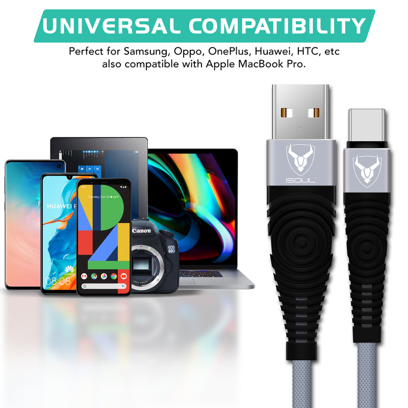 Fast Nylon Braided USB TYPE C Cable For Samsung Galaxy S8 S9 S10+ Plus-USB Type C Cable-TradeNRG UK