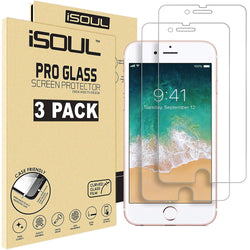 iSOUL 3 Pack For iPhone 6 6S 7 Screen Protector 4.7 Inch Anti-Shatter Film for Apple iPhone 7 Strong Tempered Glass 9H Hardness Crystal Clear 3D Touch Glass - TradeNRG UK